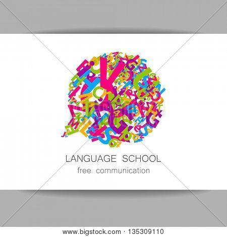 Language school logo template. Concept logotype design for  translation, linguistic center, language teachers, international communication club. Vector.