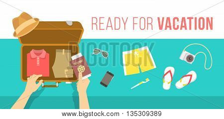 Summer vacation vector flat illustration. Packing beach stuff for summer time travel. Man puts in suitcase summer clothes, swim shorts, flip-flops, hat, glasses, camera and passport. Top view banner