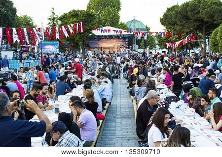 ISTANBUL, TURKEY - 6  JUNE , 2016:Celebrating the start of the holy month of Ramadan for Muslims in the Sultan Mahmed Square in Istanbul, 6  JUNE , 2016 Istanbul, Turke