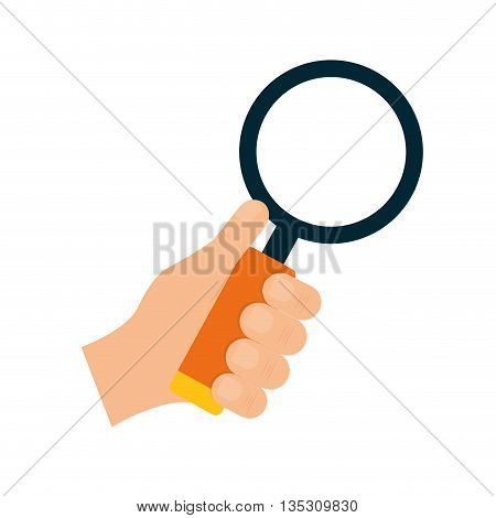 Search concept represented by lupe and hand icon over flat and isolated background