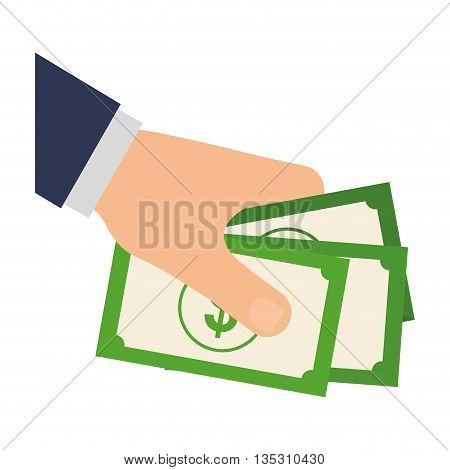 Money and Financial item  concept represented by bill icon over flat and isolated background