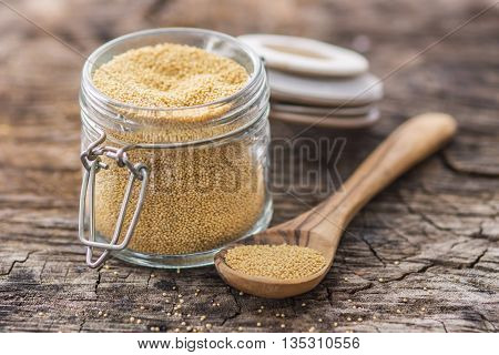 Raw Organic Amaranth Grain On Wooden Background