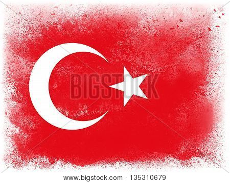 Powder paint exploding in colors of Turkey flag isolated on white background. Abstract particles explosion of colorful dust.