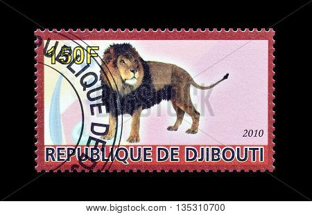 DJIBOUTI - CIRCA 2010 : Cancelled postage stamp printed by Djibouti, that shows Lion.