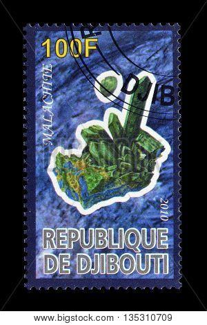 DJIBOUTI - CIRCA 2010 : Cancelled postage stamp printed by Djibouti, that shows Malachite.