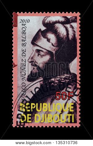 DJIBOUTI - CIRCA 2010 : Cancelled postage stamp printed by Djibouti, that shows Nunez de Balboae.