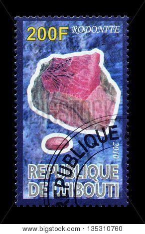 DJIBOUTI - CIRCA 2010 : Cancelled postage stamp printed by Djibouti, that shows Rodonite.