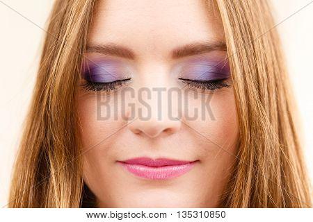 Woman Face Colorful Eye Makeup Closed Eyes Closeup