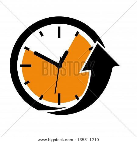 Time concept represented by clock and arrow icon over flat and isolated background