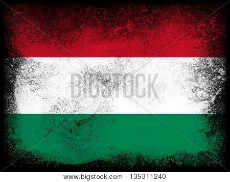 Powder paint exploding in colors of Hungary flag isolated on black background. Abstract particles explosion of colorful dust.