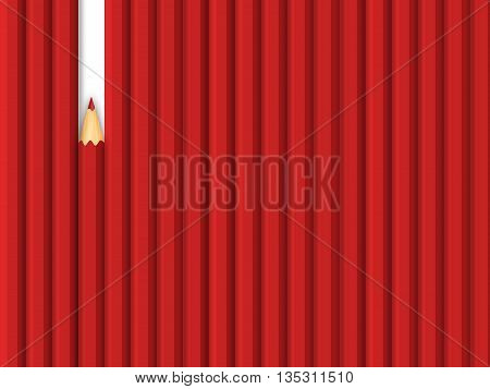 Red unique different pencil. Leader, leadership, individuality, ambition, uniqueness, success.