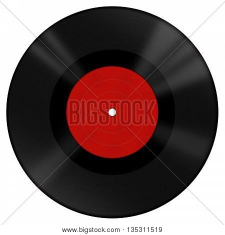 Isolated big retro vinyl disk with red label on white background