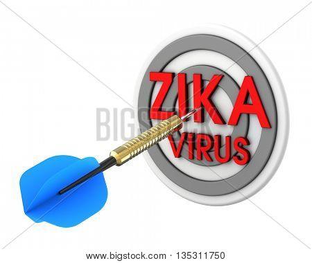 Dart hitting target. Zika in a target concept. 3D illustration.