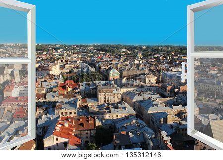 modern window with view of Lviv bird's-eye view