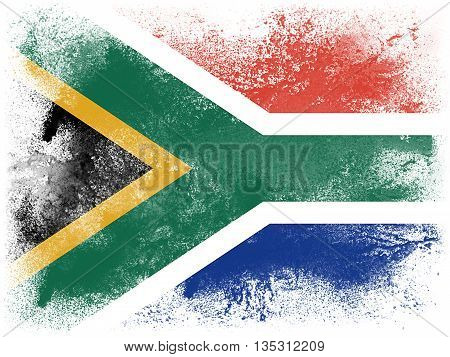 Powder paint exploding in colors of South Africa flag isolated on white background. Abstract particles explosion of colorful dust.