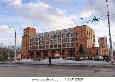 Nizhny Novgorod, Russia. - March 22.2016. Fire depot on the street Murashkinskaya
