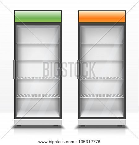 Two empty vertical refrigerators with transparent front panels for cooling drinks and eco products realistic vector Illustration