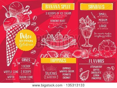 Ice cream menu placemat food restaurant brochure, dessert template design.