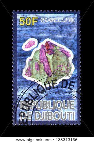 DJIBOUTI - CIRCA 2010 : Cancelled postage stamp printed by Djibouti, that shows Rubellite.