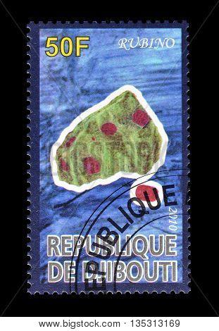 DJIBOUTI - CIRCA 2010 : Cancelled postage stamp printed by Djibouti, that shows Rubino.