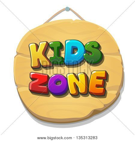 Kids Zone sign or banner. Children playground zone. Children Place label. Vector banner illustration.