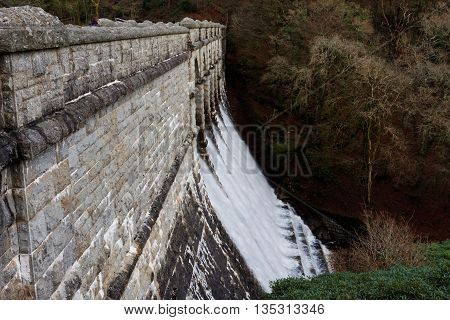 Water on Spillway of Burrator Reservoir, Dartmoor, England, built to supply the local city of Plymouth with drinking water.