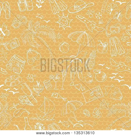 Seamless pattern with summer elements. Palm beach cold drinks ice cream and other on the background with waves.