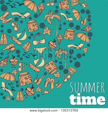Pattern with summer associations and place for text. Summer time.