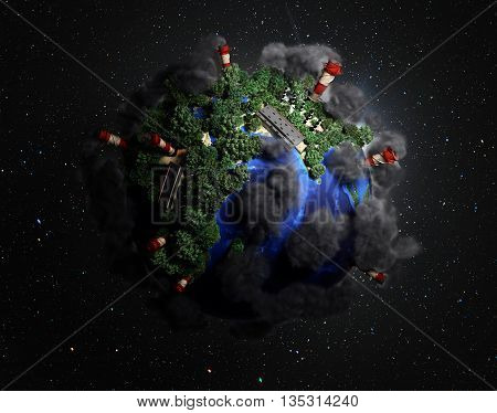 Ekokontsept Nature Preservation The Planet Is Covered With Trees Clouds Flying Over It 3D Render In