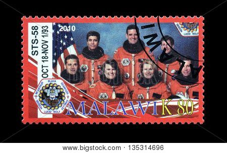 MALAWI - CIRCA 2010 : Cancelled postage stamp printed by Malawi, that shows astronauts.