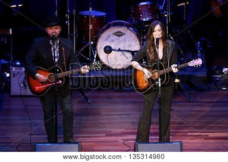 NASHVILLE, TN-SEP 1: Kacey Musgraves (R) performs onstage during the 9th Annual ACM Honors at the Ryman Auditorium on September 1, 2015 in Nashville, Tennessee.