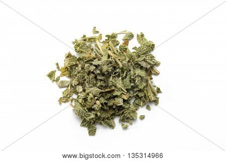 Dried sage isolated on white background view from above.