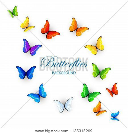 Set of colorful butterflies, arranged in a circle and in the corners, isolated on white background, illustration.