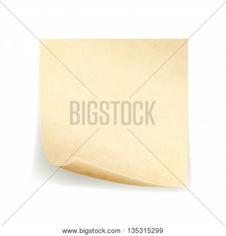 Old sheet of paper, grunge note paper, isolated on white background, illustration.