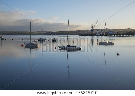 Liskeard, United Kingdom, June 22 2016, A shot of the river Tamar at sunrise , The Tamar is a river in south west England, that forms most of the border between the counties of Devon and Cornwall.