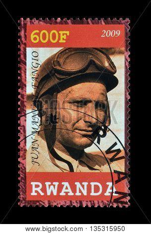 RWANDA - CIRCA 2010 : Cancelled postage stamp printed by Rwanda, that shows Fangio.