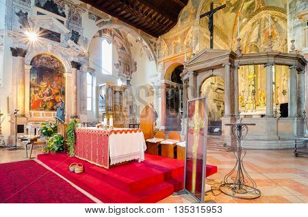 VERONA, ITALY - SEP 5, 2015: Interior of the upper church of the San Fermo Maggiore (Saints Fermo and Rustico). The altar Nichesola in the renaissance style. Verona, Italy. HDR image processed.