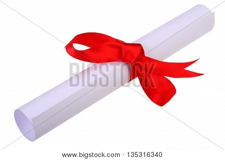 Diploma paper scroll with red ribbon isolated on white background