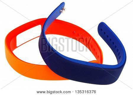 Wristbands for heart rate monitoring and activity tracking on white background with clipping path