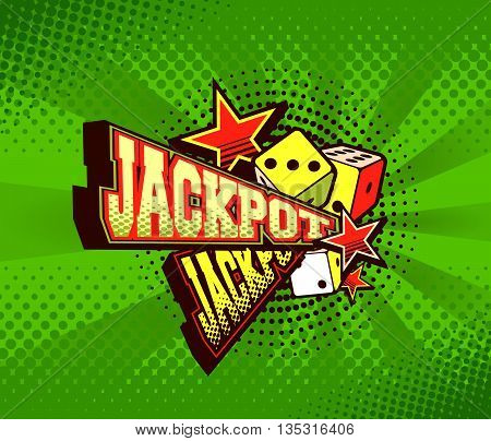 vector illustration of the letters and signs jackpot casino symbols on a green background
