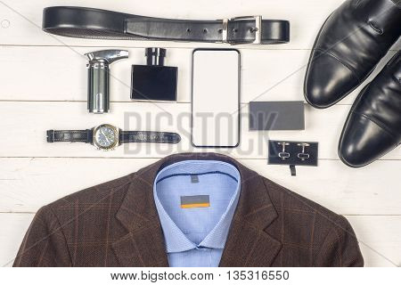 Set Of Men's Clothing And Shoes On Wooden Background. Men Accessories. Black Elegant Accessories