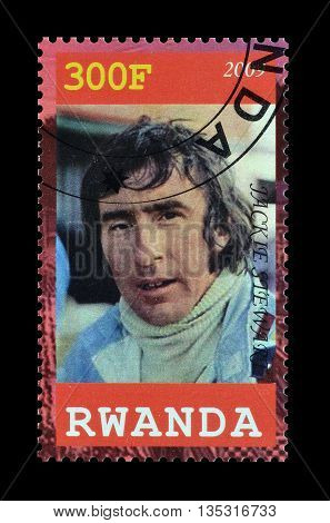 RWANDA - CIRCA 2009 : Cancelled postage stamp printed by Rwanda, that shows Jackie Stewart.