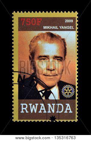 RWANDA - CIRCA 2009 : Cancelled postage stamp printed by Rwanda, that shows Mikhail Yangil.
