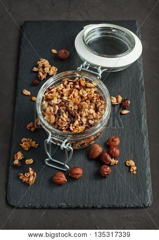 Granola With Nuts In A Glass Jar