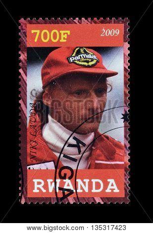 RWANDA - CIRCA 2009 : Cancelled postage stamp printed by Rwanda, that shows Niki Lauda.