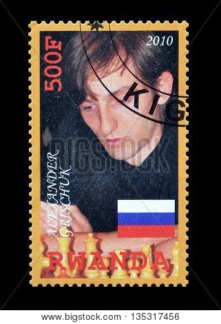 RWANDA - CIRCA 2010 : Cancelled postage stamp printed by Rwanda, that shows Alexander Pryschuk.
