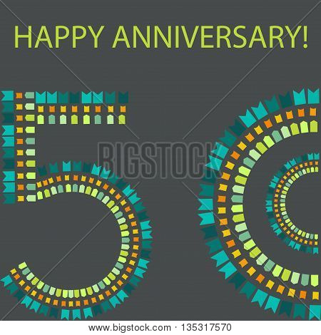 Happy anniversary. Fifty years old. Vector illustration.