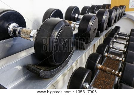 Sports dumbbells in modern sports club. Weight Training Equipment