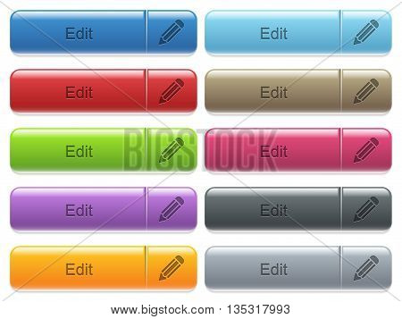 Set of edit glossy color captioned menu buttons with engraved icons