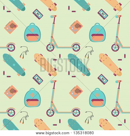 Pattern with push scooter,cassette player with tape, headphones, batteries and plastic skateboards. Vector illustration.